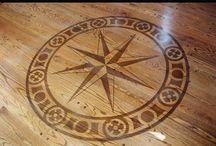 wooden floor with logo