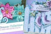 Celebrate the Season Collection / The Celebrate the Season Collection has four fanciful cling stamp sets and three matching dies filled with old fashioned themed illustrations of ornate sleighs, wooden gates, gifts, skates, mittens, and simple wreaths filled with poinsettias and greenery. The designer papers are non-traditional in color, showcasing an assortment of exceptional winter hues in shades of teals, pinks, greens and violets.
