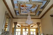 Ceiling Murals & Decorative Designs / Custom hand painted ceiling murals and artistic designs, ceiling centers décor, soffit and molding finish.