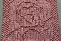 Вязание спицами- квадраты с рисунками