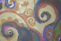 Arabescos - labirintos e espirais / acrilica s/tela