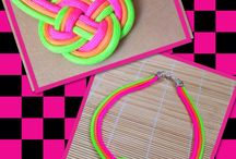Knot handmade neon necklace. / Neon Colors