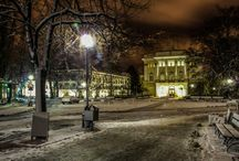 Winter in Warsaw by night
