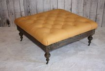 Tufted Genuine Leather Ottoman