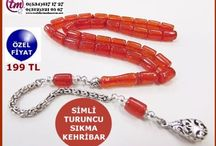 SIKMA KEHRİBAR TESBİH 7x9.5 mm SİMLİ TURUNCU