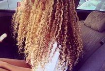 blond curly hair