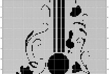 Cross stitch guitar