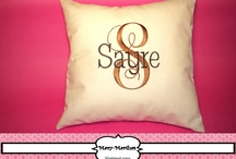 Embroidery Pillows / Embroidery Pillow Off White Linen Fabric With Initials 16 x 16