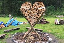 wedding decoration heart on the fire