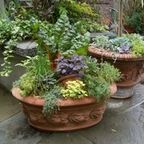 Container Gardening /  Make the most of smaller outdoor vegetable gardening space: http://www.houzz.com/photos/679067/Vegetable-Garden-in-Containers-eclectic-landscape-portland