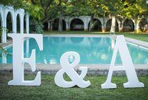 Elena & Álvaro's Wedding / Wedding Inspiration - Blue & Green decoration - Dark Cyan & Light See Green Colours - Big Letters - Rustic Wedding in Seville, Spain
