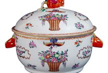 Chinese Art Basket Of Flowers