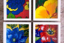 quadro de flores de tecido