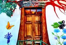 Come in! / These colorful doors remind me of those I saw on a trip through the Mediterranean...colorful and inviting.