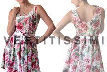Vestito donna abito fiori vestitino party miniabito elegante sera sexy Vs14