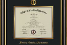 Western Carolina University - WCU - Diploma Frames & Graduation Gifts / Official WCU Diploma frames. Exquisitely crafted to exacting specifications for the WCU diploma. Custom framed using hardwood mouldings and all archival materials, including UV glass to prevent fading from sunlight AND indoor incandescent lighting! Each frame exceeds Library of Congress standards for document preservation and includes a 100% lifetime guarantee, ensuring that a hard-earned achievement will be honored and protected for generations. Makes a thoughtful and unique graduation gift!