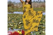 Laxmipati Catalogs- GAJRA / Adorable Mustard coloured Georgette Saree which will make you look out of the ordinary. Its Luscious Fabrics, Floral Prints gives you a simple yet classy look.