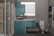 Baño DB003 / Diseño de un baño moderno, donde destacamos la integración de la lavadora dentro del mueble. Presentamos dos diseños con distinto revestimiento y distinta combinación en los tonos utilizados en los muebles.