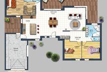 Plans maison en U