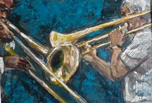 Original Jazz Paintings on Sale / These are encaustic on paper; matted and ready to frame