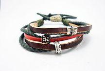 Men's bracelet / Leather, silver
