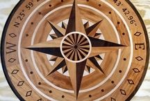 "Coyne Hardwood Compass Rose Floor Medallionn Inlay / 7/16"" Hardwood floor medallion inlay in a compass rose style.  http://www.rosefarmnlays.com"