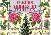 cross stitch fleurs arbres et feuilles