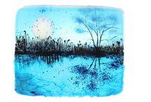 Blue night, לילה כחול /  Frit and powder ,Painting with glass ציור בעזרת אבקות זכוכית  27 cm x34 cm x1 cm