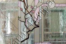 Окна, витражи. Window, stained glass. Tiffany technique. / Витражи в технике Тиффани, фьюзинг, с росписью.