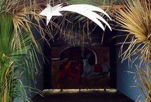 La natività a scuola.... / Capanna della natività grandezza uomo...con struttura gazebo ricoperta di foglie di palma