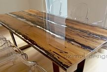 wood and resin tables
