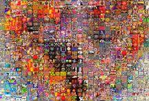 kid art - collage/print/stencil