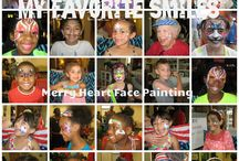 FAVORITE SMILES / face painting photos.....Love to paint kids, but I especially love it when they give me a great smile!