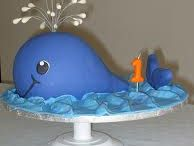 Whale cake, cupcakes and cookies