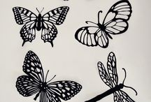 силуэты бабочек