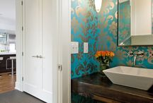 Powder Room Wallpaper / Wallpaper is becoming very popular to use in powder rooms and bathrooms. We love it and have installed quite a few times at http://www.wowwallpaperhanging.com.au/powder-room-wallpaper/