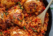 Chicken Rice and Chicken Basil one pan
