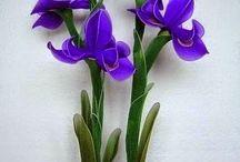 flores de meia de seda.