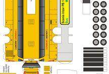 Bus paper cut model