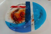 Passover bowl - parting the red sea,קערת פסח קריעת ים סוף /   Fusing, Spectrum ,dim 32 cm  d 6mm   Fusing, Spectrum ,dim 32 cm  d 6mm פיוזינג
