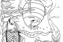 coloring pages 48 (fish, mermaid)