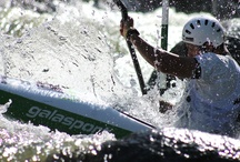 White water slalom / White water slalom is a beautiful water sport with one goal. To be the fastest one in the finish line. Paddlers are supposed to go through the course (gates) and they are penalized when touching the pole or missing the whole gate. Winner is the fastest one!