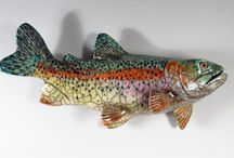 Alan Bennett Ceramic Fish / Influenced by experiences in and around the water, Alan and Rosemary Bennett start the process with a series of sketches. Sculpted out of stoneware or porcelain clay,  the end result is a lively work of art that expresses color, texture and movement.