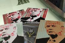 Donald Trump and  dollarsandart / Creating the Screen print of the 45th president of the U.S.A, Donald Trump together with the signed $1 collaboration using one of the original screen prints  -When I met Trump and asked him to sign the $1 bill he agreed on condition that he kept my pen. I agreed but only if he signed the $2 bill also! The rest, is, well, Art history...