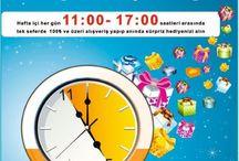 ŞANS SAATİ / Haftaiçi her gün 11:00 - 17:00 saatleri arasında tek seferde 100 tl ve üzeri alışveriş yapıp anında sürpriz hediyenizi alın.