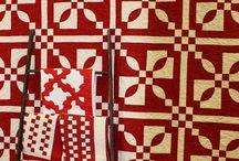 Rød hvid quilts