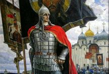 The Grand Duke Alexander Nevsky - Александр Ярославич Невский / Алекса́ндр Яросла́вич Не́вский (др.-рус. Александръ Ярославичь, в монашестве Алексий; 13 мая 1221[1], Переславль-Залесский — 14 ноября 1263, Городец) — князь Новгородский (1236—1240, 1241—1252 и 1257—1259), великий князь Киевский (1249—1263), великий князь Владимирский (1252—1263), знаменитый русский полководец, святой Русской Православной Церкви.