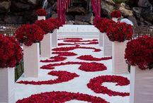 red &white flower decor