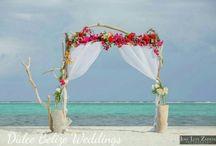 Wedding Arbors by Dulce Belize / beach wedding arbor in Belize.