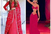 Disney Princess Cancan Saree Style